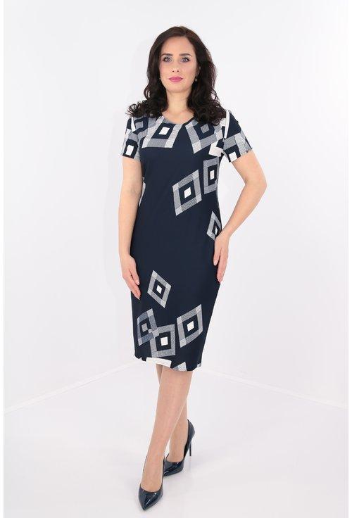 Rochie bleumarin cu model geometric