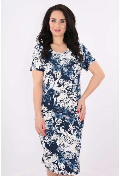 Rochie bleumarin cu print floral alb-albastru