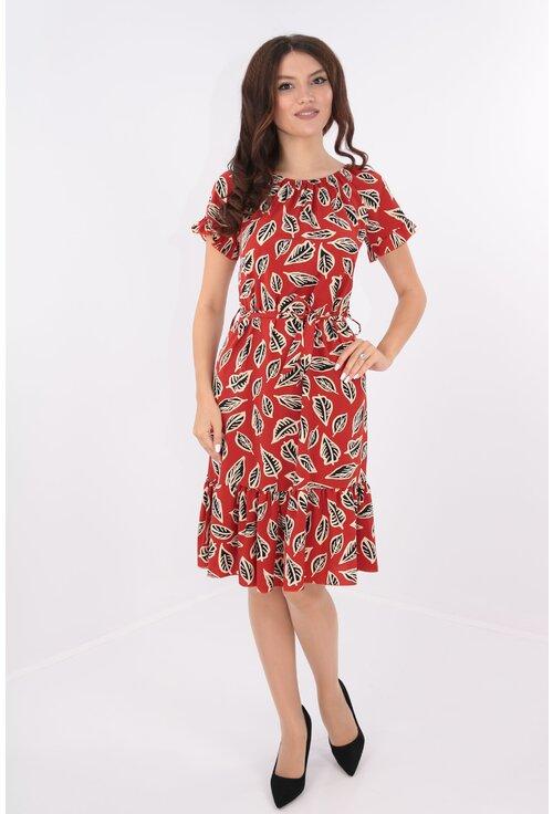 Rochie caramizie cu cordon in talie si frunze negre
