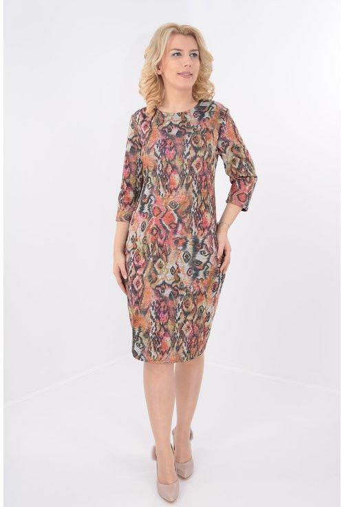 Rochie casual caramizie cu print multicolor