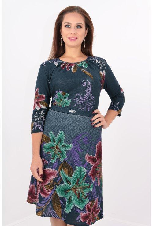 Rochie clos bleumarin cu bordura florala