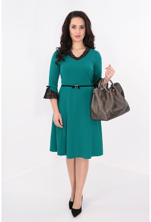 Rochie clos verde cu dantela neagra