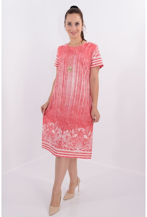 Rochie corai cu bordura florala alba
