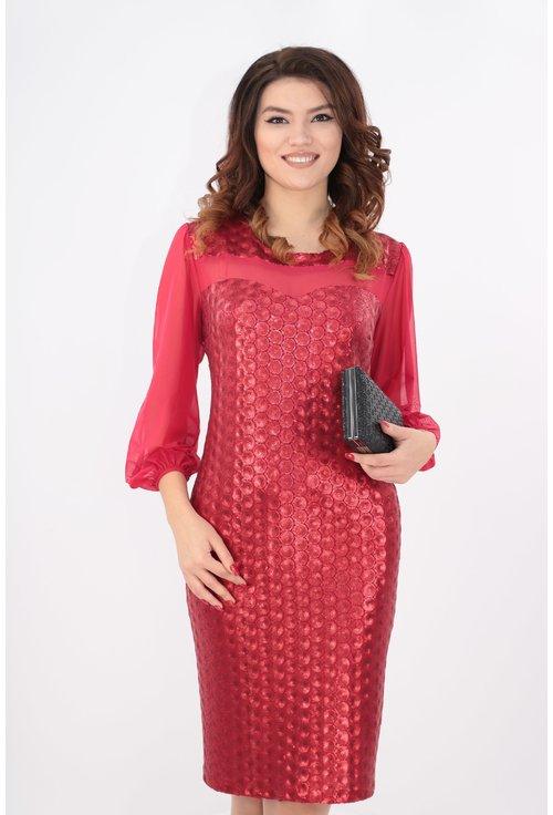 Rochie cu paiete rosii si maneci din tull