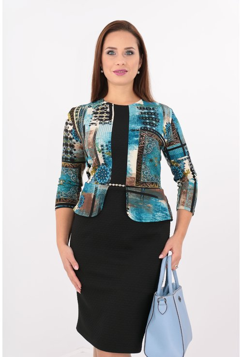 Rochie cu peplum neagra si print floral turcoaz