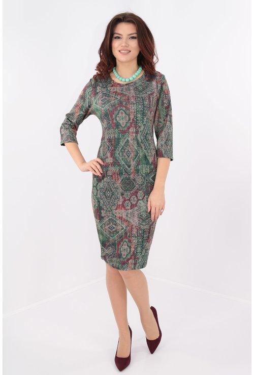 Rochie cu print etno verde si sclipici discret