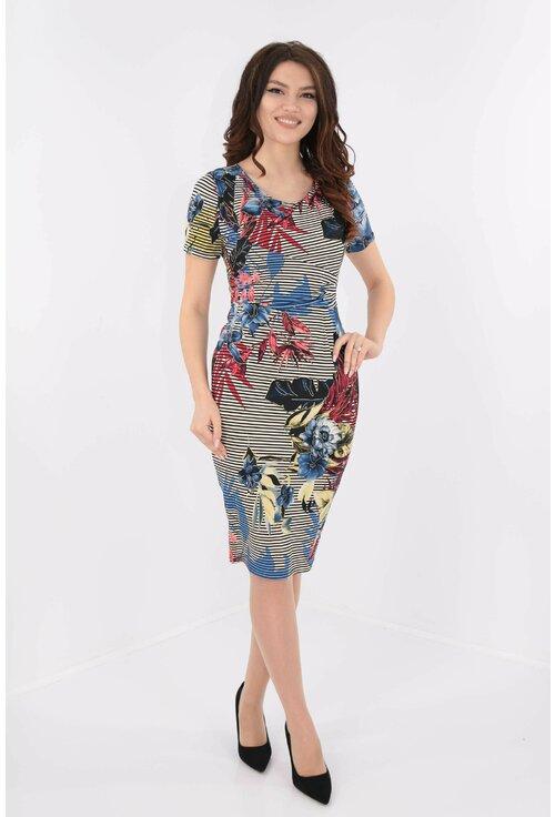 Rochie cu print floral si dungi