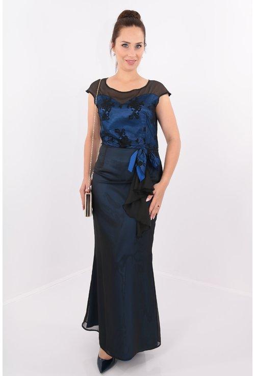 Rochie de seara din voal negru si saten albastru