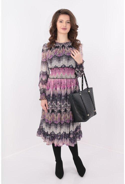 Rochie de zi din voal cu print zig-zag