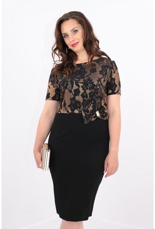 Rochie din brocard auriu cu model floral