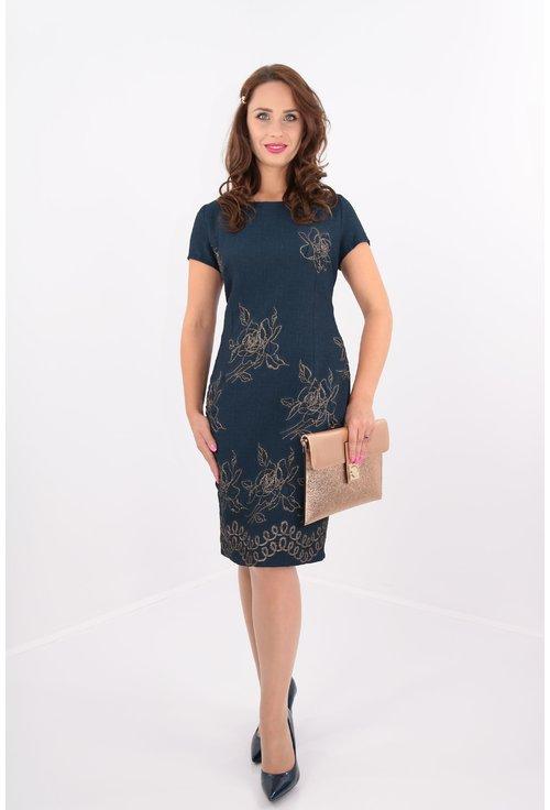 Rochie din brocard bleumarin cu flori aurii