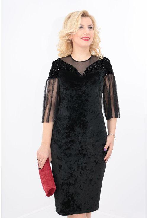 Rochie din catifea neagra cu paiete
