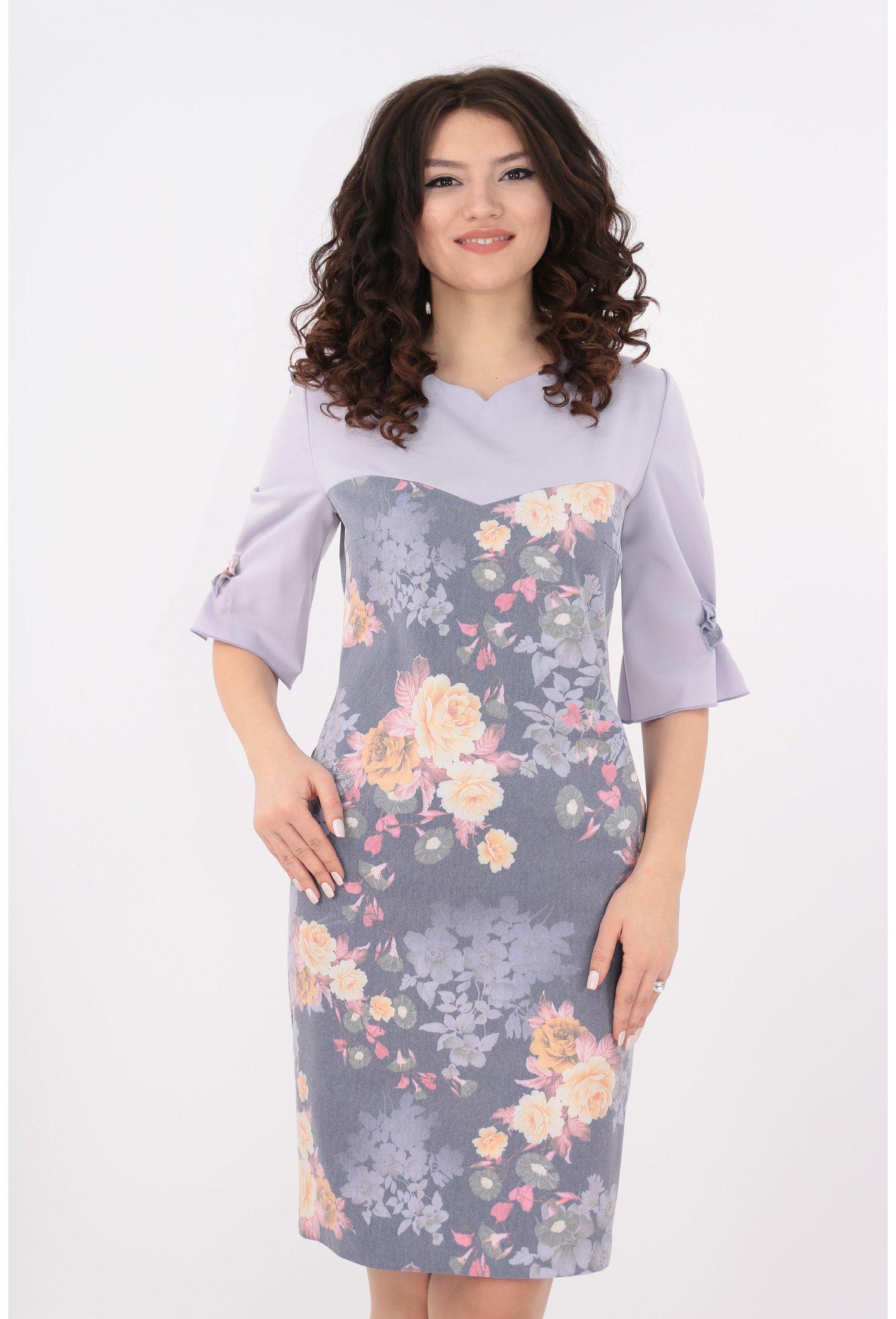 Rochie din denim lila imprimat