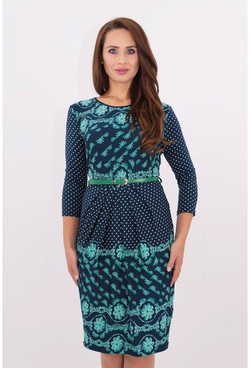 Rochie din jerse bleumain cu buline si print bordurat