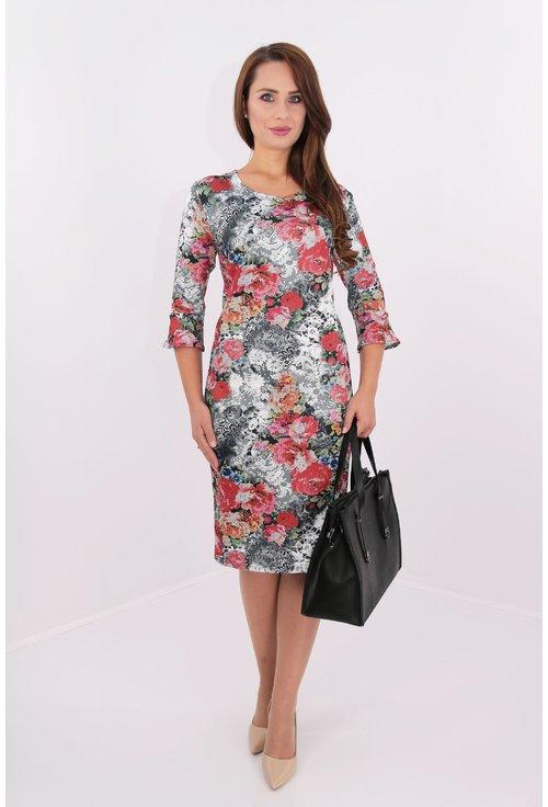 Rochie din jerse cu print floral multicolor