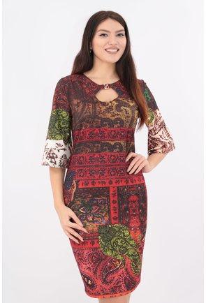 Rochie din jerse multicolor cu print floral