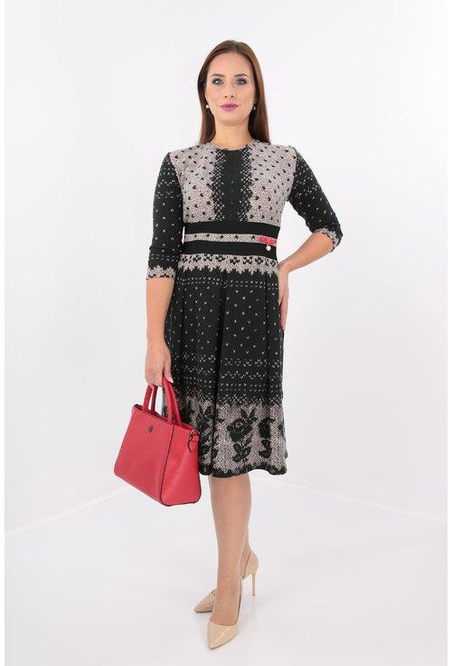 Rochie din jerse negru cu gri si pliuri simetrice