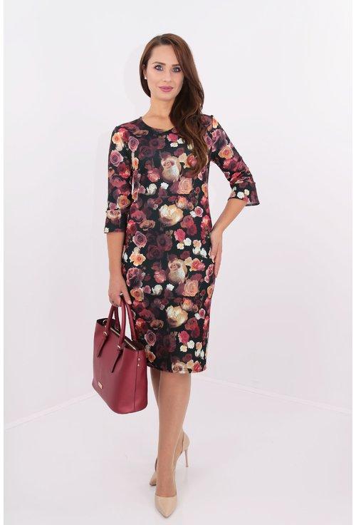 Rochie din jerse negru cu print floral multicolor