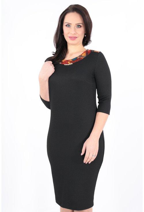 Rochie din stofa neagra cu decolteu cu print caramiziu