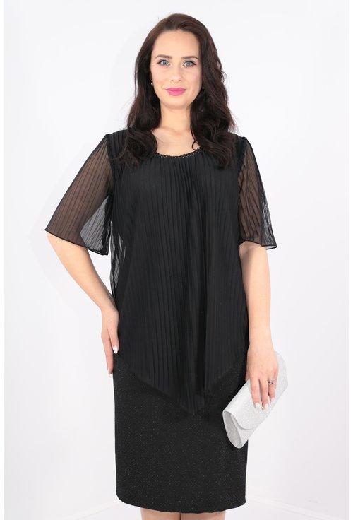 Rochie din stofa neagra cu fir metalic si voal plisat