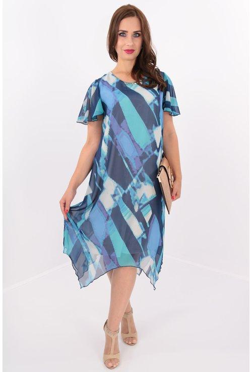 Rochie din voal imprimat albastru cu tiv asimetric