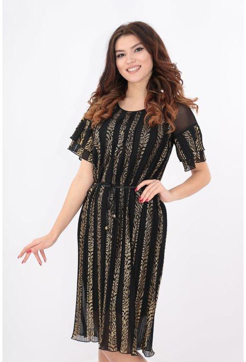 Rochie din voal plisat cu print auriu
