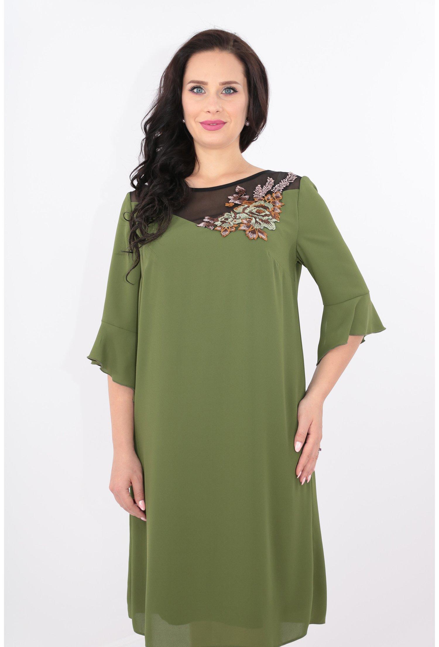 Rochie din voal verde-olive cu broderie aplicata