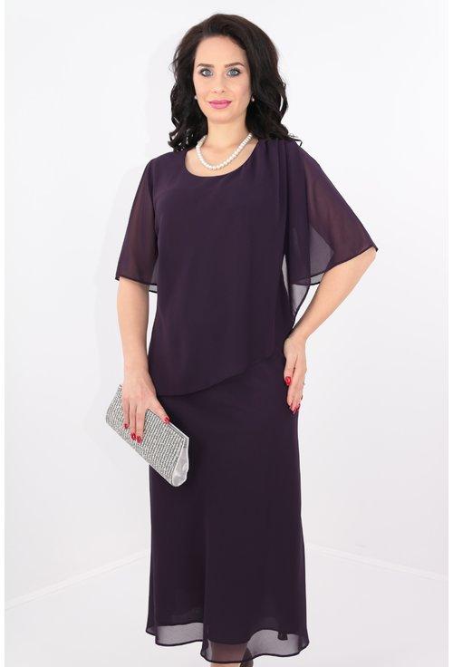 Rochie din voal violet cu perle