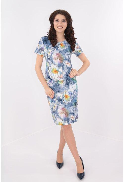 Rochie dreapta albastra cu print floral multicolor