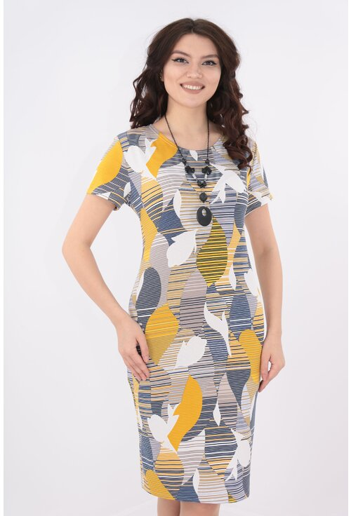 Rochie dreapta cu print abstract mustar