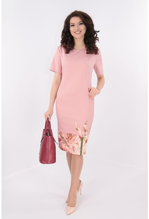 Rochie dreapta roz cu bordura