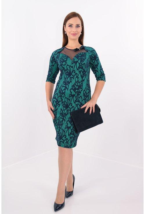Rochie eleganta din brocard elastic verde