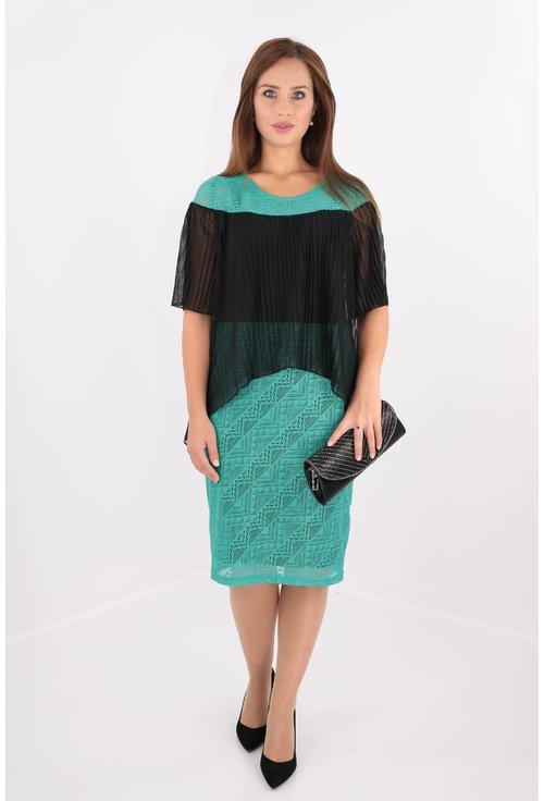 Rochie eleganta din dantela verde si voal plisat negru