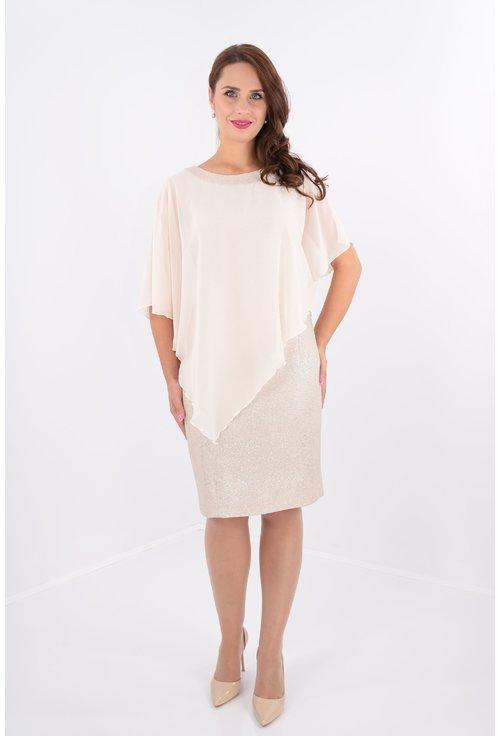 Rochie eleganta din stofa crem-aurie si voal crem