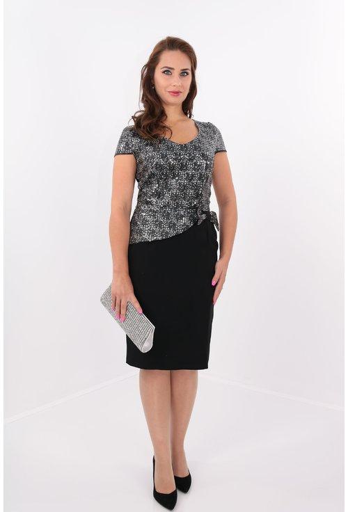 Rochie eleganta din stofa subtire neagra si paiete argintii