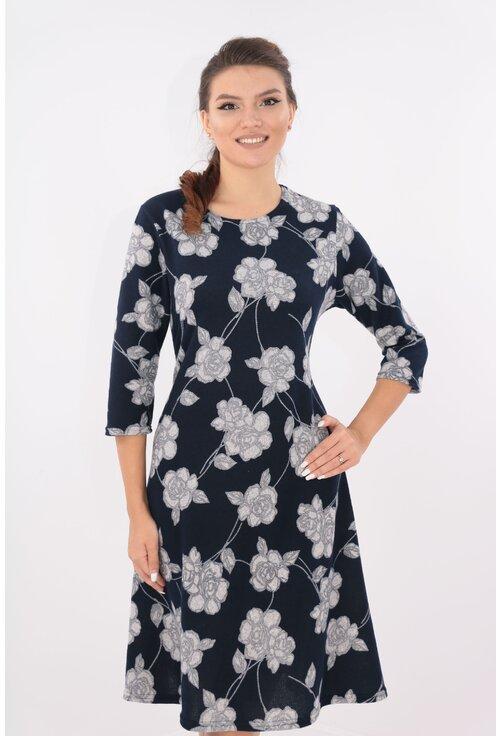 Rochie evazata bleumarin cu desen floral gri