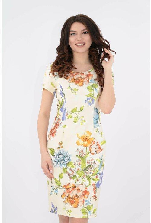 Rochie galbena cu imprimeu floral
