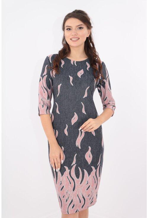 Rochie gri cu desen bordurat roz