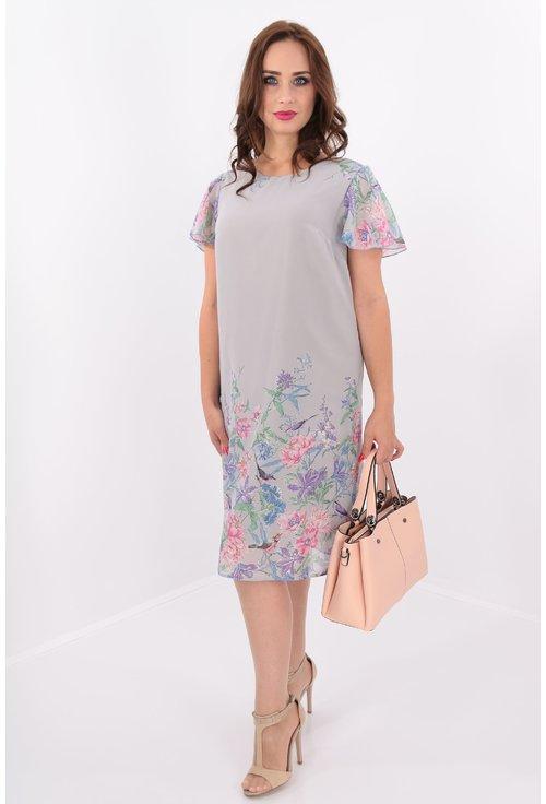 Rochie gri vaporoasa din voal imprimat cu bordura florala