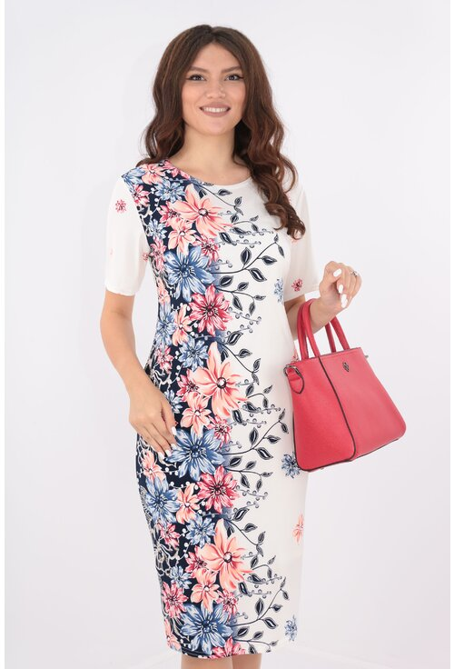Rochie lejera alba cu bordura florala corai