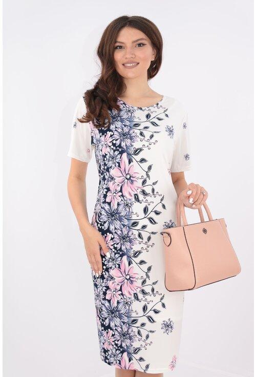 Rochie lejera alba cu bordura florala lila