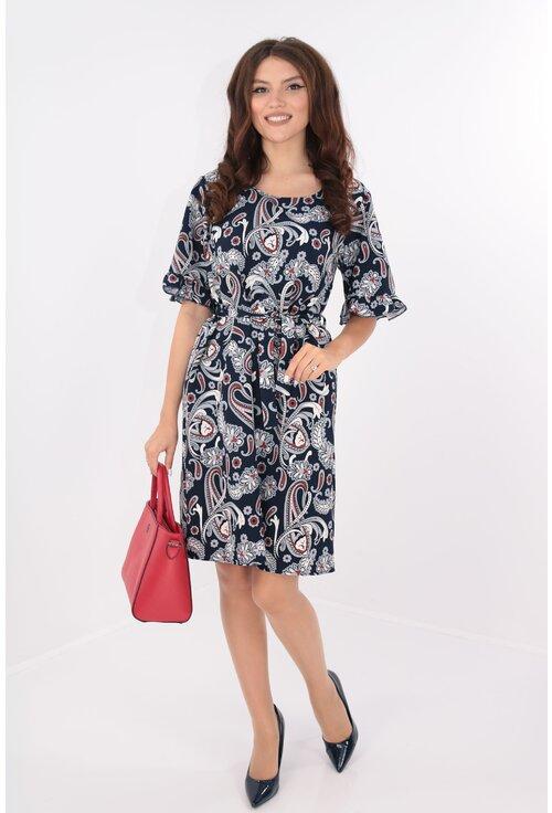 Rochie lejera bleumarin cu cordon in talie si print floral
