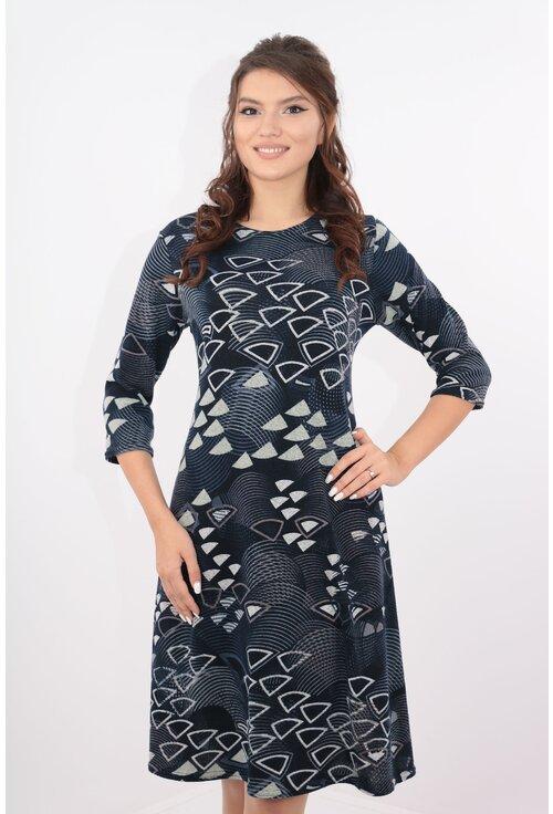 Rochie lejera bleumarin cu desen geometric gri