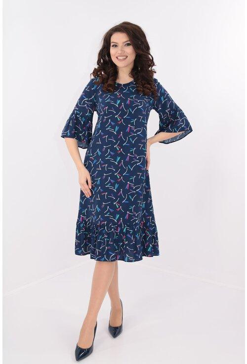 Rochie lejera din bumbac cu print albastru