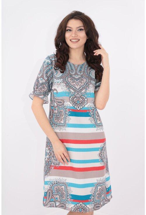 Rochie lejera din bumbac cu print maxi bleu