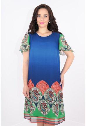 Rochie lejera din voal albastru cu bordura multicolora