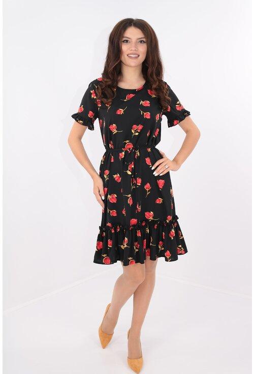 Rochie lejera neagra cu cordon in talie si flori rosii