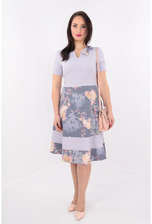 Rochie lila cu print floral