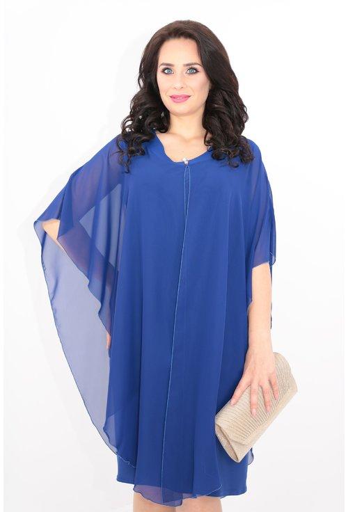 Rochie midi albastra cu pelerina din voal