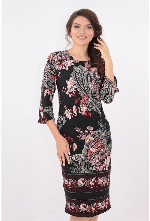 Rochie neagra cu flori rosii si bordura